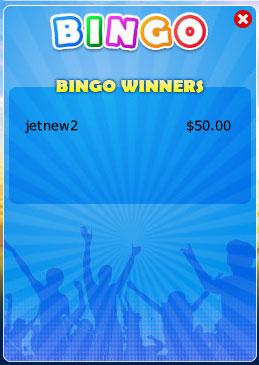 bingo cabin winning bingo message