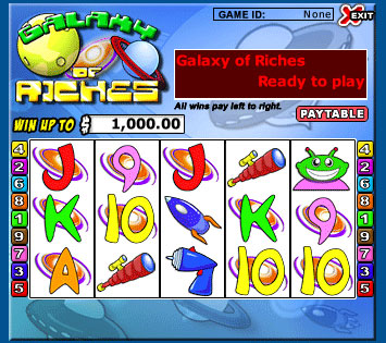 bingo cabin galaxy of riches 5 reel online slots game