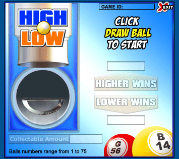 bingo cabin high low online instant win game