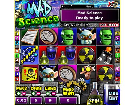 bingo cabin mad science 5 reel online slots game