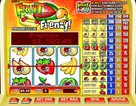bingo cabin fruit frenzy 3 reel online slots game